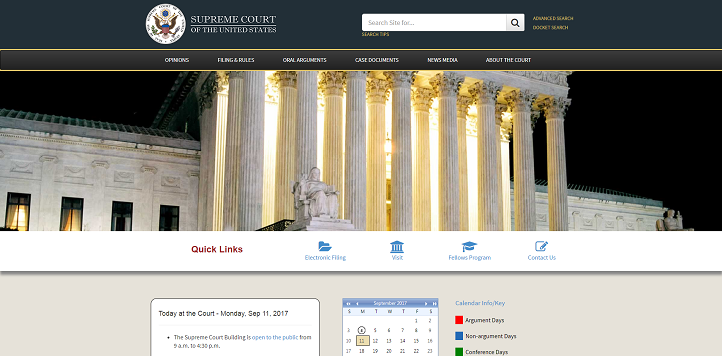 Supreme Court Begins New Term with Updated Website With E-Filing